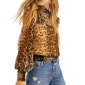 NWOT Leopard Animal Print Sheer Blouse